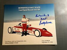 BOBBY UNSER Autographed 8x10 Photo Bonneville Salt Flats Speed Record 9/22/1993