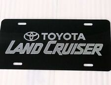 Toyota Land Cruiser Car Tag Diamond Etched on Black Aluminum License Plate