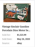 "VINTAGE 1933 SINCLAIR GASOLINE B4 WW2 NAVY DINOSAUR 16"" PORCELAIN METAL OIL SIGN"