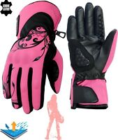 LADIES WATERPROOF PINK THERMAL MOTORBIKE MOTORCYCLE MOTOCROSS WINTER GLOVES