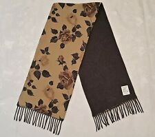 VINTAGE AUTHENTIC FLORAL ROSES LAMBSWOOL LONG MEN'S FRINGE SCARF