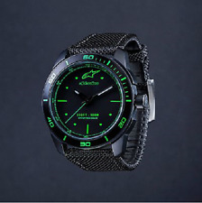ALPINESTARS TECH WATCH 3H STEEL CASE BLACK GREEN FACE CANVAS STRAP XMAS GIFT