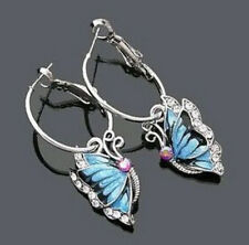Butterfly Dangle Blue Crystal Rhinestone Enamel Hoop Earrings GIFT WOMEN 1Pair