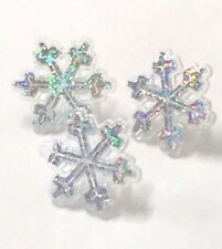 12 Snowflake Ring Picks Frozen Birthday Cupcake Winter Toppers Decoration Favor