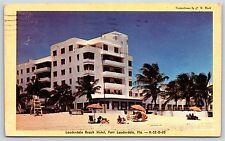 Lauderdale Beach Hotel in Fort Lauderdale, Florida Chrome Postcard 1948