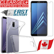 For Samsung Galaxy A8 2018 Crystal Clear TPU Gel Case Cover + Tempered Glass