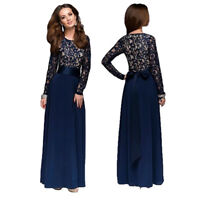 Muslim Women Lace Long Sleeve Maxi Dress Arab Kaftan Slim Evening Cocktail Gown