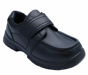 BOYS LEATHER TOUCH STRAP BLACK SMART SCHOOL WEDDING LOAFERS SHOES SIZES 10-6