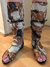 Printed Metallic Mid Calf Open Toe Womens Girls Boots Side Zip Black Belt Size 7