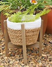 35cm White/Tan Rattan Natural Seagrass Planter Basket on Bamboo Stand
