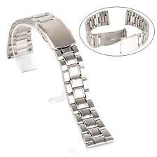 Correa de acero inoxidable para reloj Color plata Ancho: 14, 16, 18, 20 y 22 mm