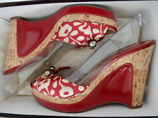 $355 Marc Jacobs Cork w/ Patent Leather Wedge Sandals DK Red shoes