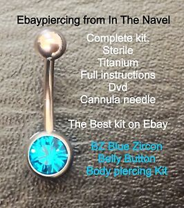Body piercing kit. belly button, BLUE ZIRCON TURQUOISE. Professional sterile kit