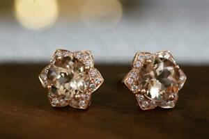 3 Ct Round Cut Morganite & VVS1 Diamond Womens Stud Earrings 14K Rose Gold Over