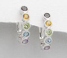 19mm Solid Sterling Silver BEAUTIFUL Colorful Gemstone Huggies Earrings 5.1g