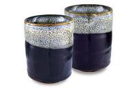 Mino Ware Traditional Japanese Yunomi Tea Cups Set of 2 Tenmoku Unohu