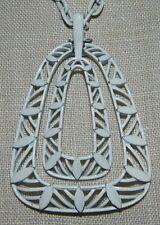 VTG 1950's CROWN TRIFARI White Enamel Triangle Abstract Choker Necklace