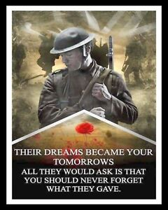 THEIR DREAMS REMEMBRANCE DAY LEST WE FORGET POPPY POPPIES METAL PLAQUE SIGN R69