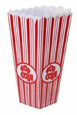 Brand New Traditional & Plastic Reusable Popcorn Box or Container Red And White