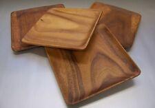 Teller Holzteller 4er Sparset 20x20cm Schale Tablet Akazienholz Mittelalter