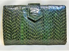 Vintage Dupont Green Snake Python Leather Coin Pocket Card Slots Snap Wallet
