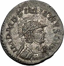 Maximian helmeted 290AD Rare Authentic Ancient Roman Coin PAX Peace Cult  i52078