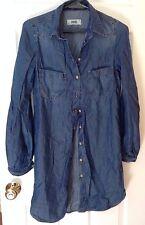Authentic Diesel Denim Shirt Dress Long Sleeve XXS Women's Blue