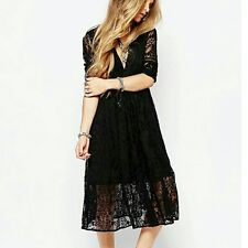 $168 Free People Mountain Laurel Lace Crochet Midi Dress Black Size 10 M L NWT