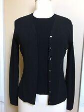 Ann Taylor Black Rayon Blend Tank Top & Cardigan Sweater 2 Pcs Set Size M