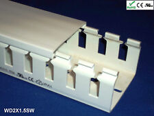 """12 New 2""""x1.5""""x2m Wide Finger Open Slot Wire Cable Raceway Duct Cover,PVC,White"""