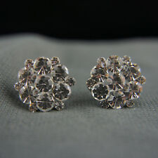 18k white Gold GF with Swarovski elements brilliant crystals cluster earrings