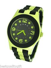 MARC JACOBS PELLY BLACK SILICONE WRAPPED LIME GREEN ALUMINUM WATCH-MBM3503