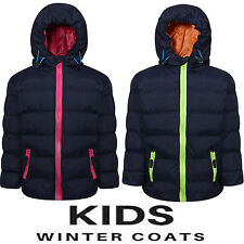 NEW KIDS QUILTED WARM THICK PADDED BOYS GIRLS CHILDRENS HOODED JACKET COATS SIZE