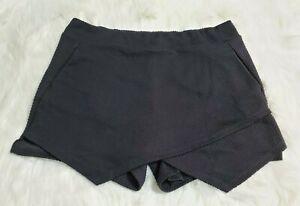 Kensie Women's Size Large Skort Skirt Shorts Black Pull On Pockets Stretch A-16