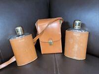 VTG Leather Encased Scotch & Bourbon Flasks W/ Pouch WJ Hall Real Hide~ England