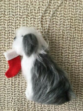 More details for old english sheepdog decoration with christmas stocking part needle felted dog