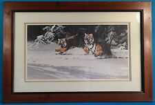 "Guy Coheleach Signed ""Manchurian Chase"" Lithograph Limited Edition 1982 & Framed"