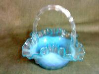 Antique Glass Opalescent Pearline Vaseline Posy basket Holder stourbridge? webb?