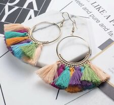 Gold Multi Blue Long Drop Tassel Fashion Earring Boho Festival Party Boutique Uk