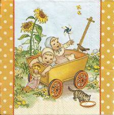 2 Serviettes en papier Enfants Chat Tournesol Paper Napkins Sommerreise