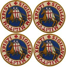 "4 x KNIGHTS TEMPLAR SEAL iron-on PATCH embroidered CRUSADES BLUE 4"" LARGE"