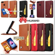 Etui coque housse Cuir Premium Leather Case Cover Huawei P Smart P20 Y9 Honor..