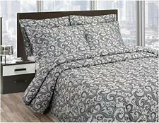 Beauiful quilted bedspread scroll design grey - King size