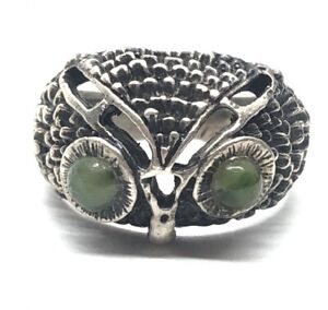 Vintage Sterling Silver Ring 925 Size 6 Emerald Eyes Owl Band Bird