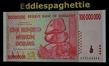 Zimbabwe 100 Million Dollars 2008 Prefix AA UNC P-80