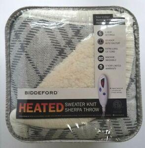 "Biddeford Microplush Electric Heated Sweater Knit Throw - 50"" x 62"" Green-Cream"