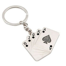 Mini Metal Gambling Poker Cards Keychain Key Ring Chain Fob Royal Flush