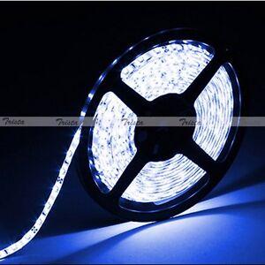 Waterproof Blue 5M 300 Leds 3528 SMD LED Flexible Strip Light 12V DC Black PCB
