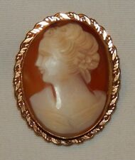 Beautiful old hand carved shell Cameo pin with gold filled frame