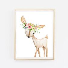 Boho Deer Nursery Wall Art Woodland Animals Print Floral Decor Baby Gift 602-A